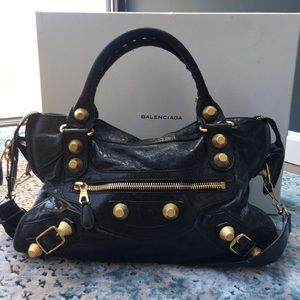 Black Leather Balenciaga GGH City Bag w/RECEIPT